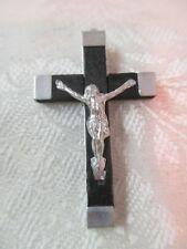 Vintage France wood & silver tone Cross