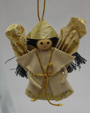 Black Hair Angel Christmas Ornament hand crafted paper Oragami