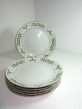 6 Gibson China CHRISTMAS HOLIDAY CHARM DINNER PLATES Coupe Holly Berries & Gold