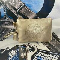 RARE COACH METALLIC GOLD PERFORATED SIGNATURE C LEATHER WRISTLET WALLET CLUTCH