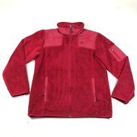 Nike ACG Fuzzy Fleece Jacket Womens M Red Full Zip Mock Neck Long Sleeve