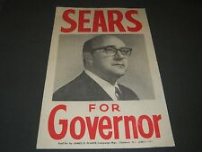 """1969 HARRY SEARS FOR GOVERNOR OF NEW JERSEY CAMPAIGN POSTER 22"""" X 14"""" - P 225"""