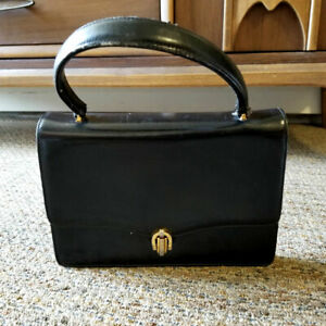 seventies vintage handbag purse black leather clutch Old black leather