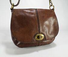 Fossil Leather Crossbody Handbag Turnlock Purse Messenger Shoulder Bag Brown
