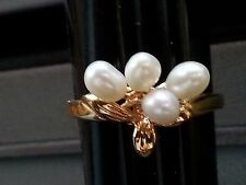 GOLD TONE PEARL COSTUME RING SIZE 8