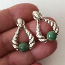 CR: Sterling silver post and push back earrings with dangling turquois... Lot 4B
