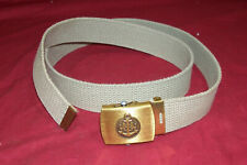 """41"""" Us Navy Tan Merit Web Belt w/ Anchor & Lions Brass Buckle Usn Men's Women's"""