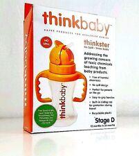 Straw Baby Bottle Thinkbaby Stage D 12-36 Months Orange No Spill 9 oz BPA free