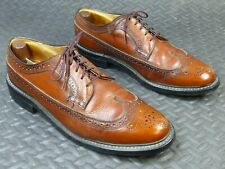 Vintage Dexter Longwing Gunboat USA Derby Brogue Shoes Size 10 E Brown Pebbled