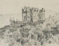 Landschaftsdarstellung Burg Eltz in traumhafter Lage, 1867, Bleistiftzeichnung