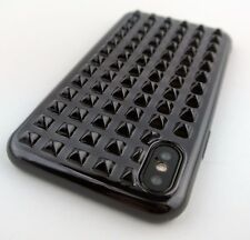 FULL BLACK METAL STUD TPU SKIN CASE COVER FOR APPLE IPHONE X