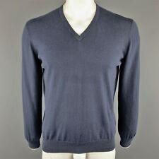 ERMENEGILDO ZEGNA Size L Navy Cotton V-Neck Pullover Sweater