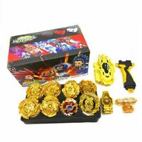 8pcs Golden Beyblade Set Gyro Burst Kids Gift With Launcher Portable Storage Box