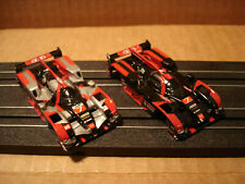 2 TOMY AFX H.O. SCALE SLOT CAR BODY ONLY LOT AUDI R-18 #7 BLACK & SILVER SEE DET
