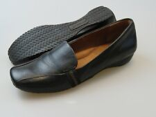 Gentle Souls Iso Stripe Comfort Black Soft Leather Wedge Loafers Size 7.5 M