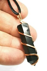 Black Tourmaline Copper Wire Wrapped Pendant Real Gemstone Protection Necklace