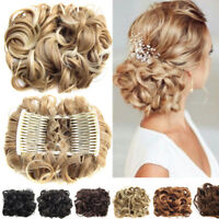 9 Styles Women Easy Clip In Synthetic Curly Hair Extensions Hairpiece Bun HOOT