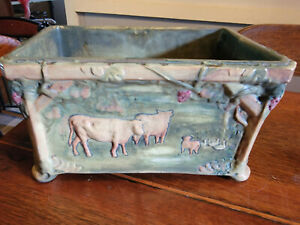 Weller Pottery Woodcraft Scenic Cows Window Box  Planter ABSOLUTELY AWESOME MINT