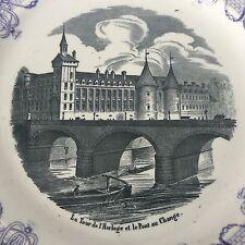 Assiette Choisy XIXè Paris Tour De L'Horloge Et Pont Au Change Victorian Plate