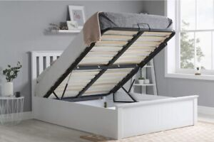 MODERN SOLID WOOD OTTOMAN DOUBLE BED FRAME WHITE✅WARRANTY INCLUDED✅