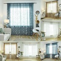 Romantic Floral Tulle Voile Window Curtain Drape Door Panel Sheer Scarf Valances