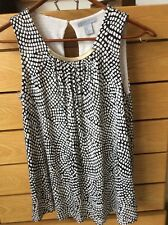 New H&M Black & White Top with Gold neck Embellishment Size XS