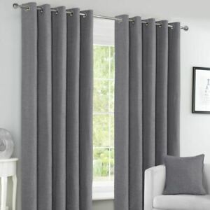Canterbury Chenille Lined Blackout Eyelet Curtains - Grey, Navy, Green, Ochre
