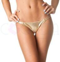 Coqueta Gold Bikini Bottom Thong Rumba Women's Brazilian Swimsuit Swimwear Sexy