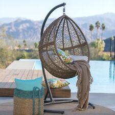Brown Resin Wicker Hanging Teardrop Egg Swing Stand Set Outdoor Furniture Home