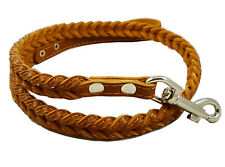 "Fully Braided Real Leather Dog Leash 46"" long 3/4"" wide Medium Large Breeds"