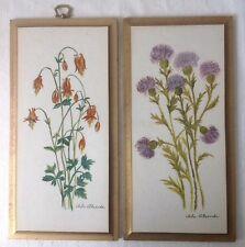 2 Vintage Arla Alexander Wildflower Tile Wall Plaques Kentucky Art