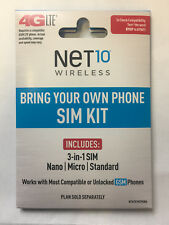 Net10 4G Lte 3-in-1 Sim Card - At&T Network! Unlimited plans! (Micro and Nano)