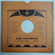 "78rpm 12"" card gramophone record sleeve SAM DICKINSON , BOLTON"