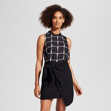 NEW Women's Chiffon Trim Woven Tank Top - Who What Wear Black/White S