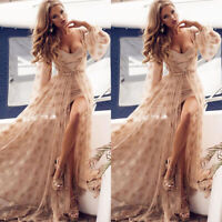Women's Ladies Lace Empire Waist Gown Dress Formal Party Swing Maxi Long Dress