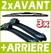 3 BALAIS D'ESSUIE GLACE FLEXIBLE AVANT + ARRIERE pour PEUGEOT 207 2006-2012