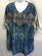 LIZ & ME COLLECTOR SERIES WOMEN'S Top TUNIC Blue Paisley Lace Front V Neck Sz 2X