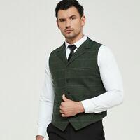 Formal Mens Wool Blend Tweed Waistcoat Plaid Herringbone Slim Fit Suit Vests