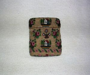 Antique Early American 1700's - 1800's Handmade Beaded Sampler Needle Case