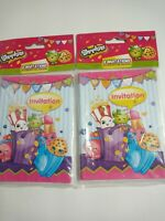 2 Packs of Shopkins Invitation Cards 16 count New Sealed