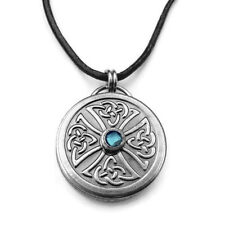 Mens Round Stainless Steel Celtic Knot Cross Pendant Necklace Unique Jewelry
