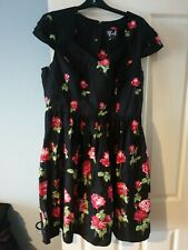 Hell Bunny Antonia Black Red Rose Floral Vintage 50s Mini Womens Mid Party Dress