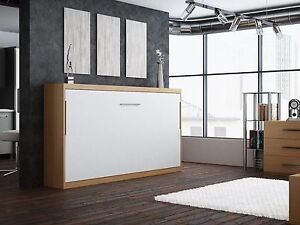 Schrankbett / Wandbett / Klappbett -Singlo-90x200 cm Quer- Holzfarbe: Weiß-Buche