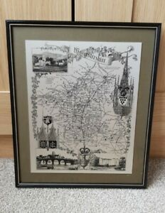 Worcestershire Map Metal Etching Black Frame Vintage Limited Edition Wall