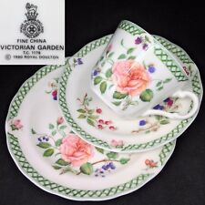 Royal Doulton 1990 Victorian Garden TC1176 English Vintage Bone China Trio Set