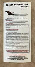 UPS United Parcel Service Airlines B727 Passenger Safety Card Issued 1999
