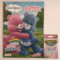 New 2pc Care Bears Gift Set Jumbo Coloring & Activity Book and Pearl Crayons