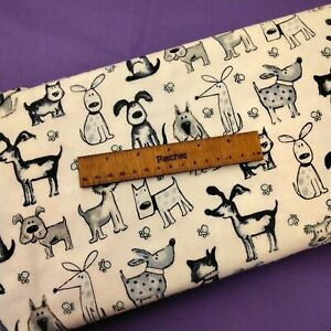 Brushed Cotton Dogs 100% Cotton Fabric Craft Cushion Bunting