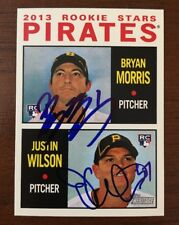 BRYAN MORRIS JUSTIN WILSON 2013 TOPPS HERITAGE AUTOGRAPHED SIGNED AUTO CARD 418