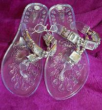 Nuevos SANDALIAS TALLA 5 Transparente Jalea Zapatos cuadrado Espejo y correa de grano de plata